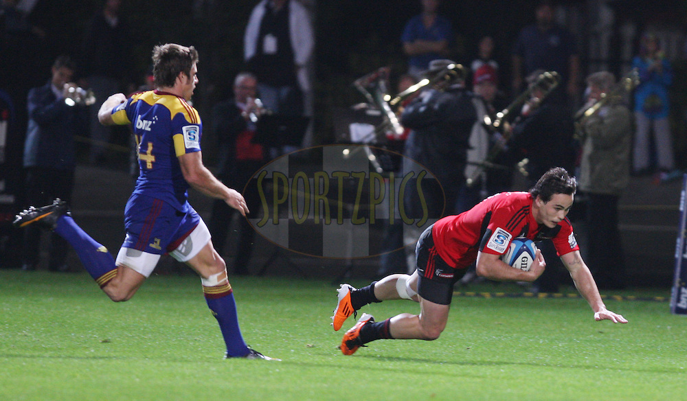 Zac Guildford scores the first try..Crusaders v Highlanders, Investec Super Rugby, Trafalgar Park, Nelson. 23 April 2011. Photo: Evan Barnes/photosport.co.nz