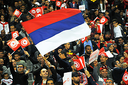 November 11, 2017 - Rades, Tunisia - Flag of Russia......Supporters of Tunisia during qualifying match for the 2018 FIFA Russia World Cup at Rades Stadium between Tunisia and Libya..Tunisia qualifies for the Russian world after a draw 0/0. (Credit Image: © Chokri Mahjoub via ZUMA Wire)