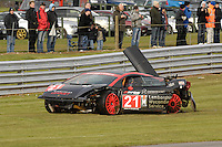 2008 British GT Championship.  Oulton Park, England. 22nd and 24th March 2008.  Adam Jones (GBR)/Piers Johnson (GBR) - Team Modena Lamborghini Gallardo.  Piers Johnson at the wheel as car comes to rest after an opening lap accident.  World Copyright: Peter Taylor/PSP. Copy of publication required for printed pictures. Every used picture is fee-liable.