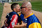 Rudy Ramirez with his son, Rudy Jr. after a soccer game. Simi Valley, Calif. (photo by Gabriel Romero ©2011)