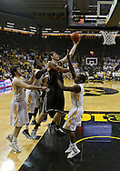 February 27 2013: Purdue Boilermakers forward Donnie Hale (15) puts up a shot over Iowa Hawkeyes guard Anthony Clemmons (5) during the first half of the NCAA basketball game between the Purdue Boilermakers and the Iowa Hawkeyes at Carver-Hawkeye Arena in Iowa City, Iowa on Wednesday, February 27 2013.