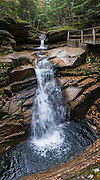Enjoy Sabbaday Falls (45-foot drop) on Kancamagus Highway (NH Route 112), in White Mountain National Forest, New Hampshire, USA. The history, beauty and easy hike (0.6 miles round trip) to Sabbaday Falls make it one of the most visited water features in the state. The White Mountains (a range in the northern Appalachian Mountains) cover a quarter of the state of New Hampshire. Leaf peepers love the peak of autumn foliage around the first week of October. The panorama was stitched from 8 overlapping photos.