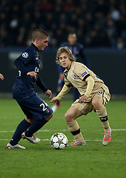 06.11.2012, Stade de Parc des Princes, Paris, FRA, UEFA CL, Paris St. Germain vs Dinamo Zagreb, Gruppe A, im Bild Marco Verratti, Alen Halilovic, // during UEFA Championsleague group A Match between Paris St. Germain and Dinamo Zagreb at the Stade de Parc des Princes, Paris, France on 2012/11/06. EXPA Pictures © 2012, PhotoCredit: EXPA/ Pixsell/ Marko Lukunic..***** ATTENTION - OUT OF CRO, SRB, MAZ, BIH and POL *****