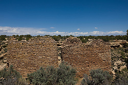 Twin Towers ruins, Hovenweep National Monument, Colorado and Utah.Hovenweep National Monument protects six prehistoric, Puebloan-era villages spread over a twenty-mile expanse of mesa tops and canyons along the Utah-Colorado border. Multi-storied towers perched on canyon rims and balanced on boulders lead visitors to marvel at the skill and motivation of their builders..