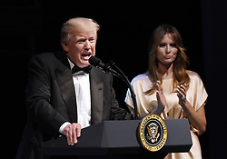 June 4, 2017 - Washington, District of Columbia, United States of America - United States President Donald J. Trump speaks during the annual gala at the Ford's Theatre to honor President Abraham Lincoln's legacy, on June 4, 2017 in Washington, DC.  At right is first lady Melania Trump..Credit: Olivier Douliery / Pool via CNP (Credit Image: © Olivier Douliery/CNP via ZUMA Wire)