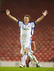 LIVERPOOL, ENGLAND - Thursday, May 14, 2009: All Stars' Teddy Sheringham celebrates scoring against the Liverpool Legends during the Hillsborough Memorial Charity Game at Anfield. (Photo by David Rawcliffe/Propaganda)