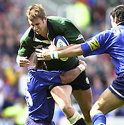 04/05/2002.Sport - Rugby Union.Zurich Premiership.London Irish vs Sale.Geoff Appleford, on the charge with Jason Robinson hanging on...[Mandatory Credit, Peter Spurier/ Intersport Images].