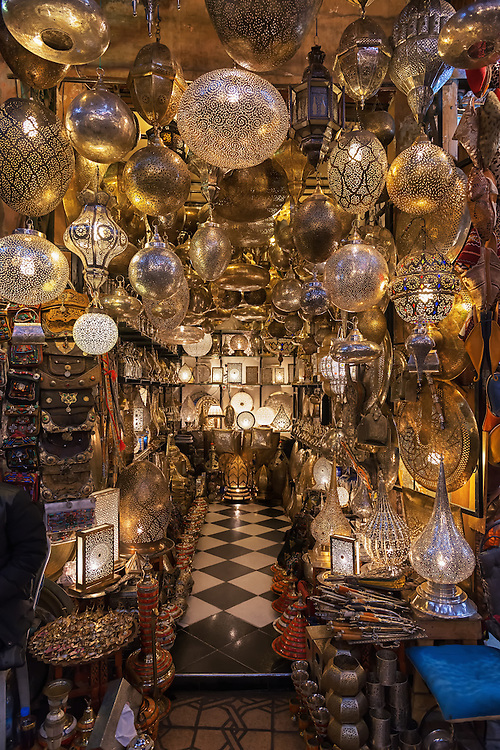 Moroccan design lamps in a shop in the medina of Marrakech, Morocco.
