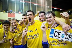 Players of Celje celebrate after winning during handball match between RK Gorenje Velenje and RK Celje Pivovarna Lasko in Final match of 1st NLB League - Slovenian Championship 2013/14 on May 23, 2014 in Rdeca dvorana, Velenje, Slovenia. RK Celje Pivovarna Lasko became 18-times Slovenian National Champion. Photo by Vid Ponikvar / Sportida