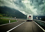 ROAD TRIP: Photographers Georgie Gillard and Rick Findler drove 1,973 miles and through nine countries for a friends wedding in Lake Garda, Northern Italy. Armed only with an iPhone and pushed for time, they decided to document their journey through the windscreen of their car.<br /> Pictured: Malles Venosta, Northern Italy.