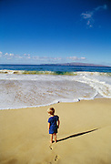 Boy on beach, Wailea, Maui, Hawaii