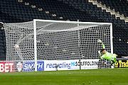 MK Dons Goalkepper Charlie Burns dives but can't stop Brentford midfielder Ryan Woods shot during the Sky Bet Championship match between Milton Keynes Dons and Brentford at stadium:mk, Milton Keynes, England on 23 April 2016. Photo by Dennis Goodwin.