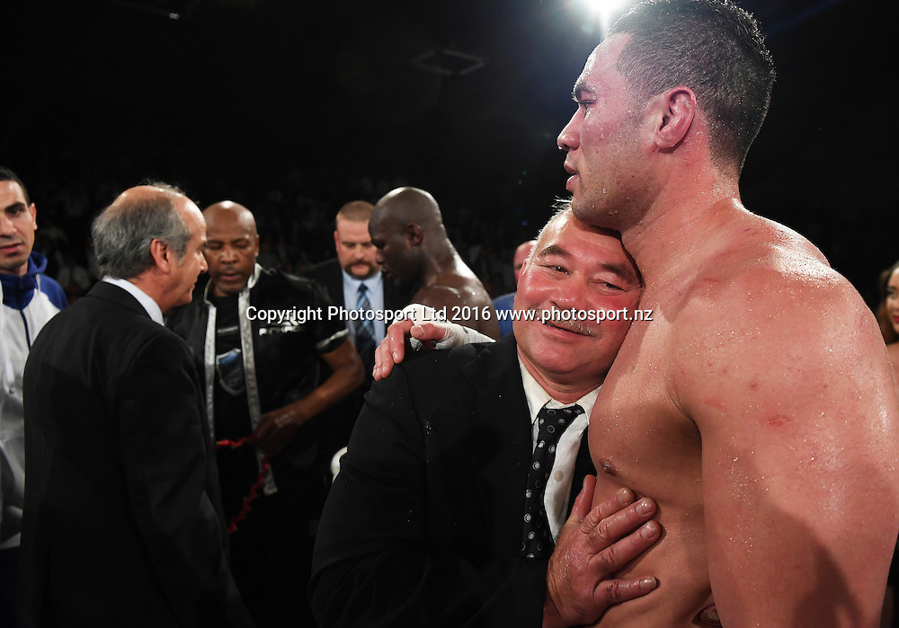 New Zealand Heavyweight boxer Joseph Parker'd Dad after his victory over French Cameroon boxer Carlos Takam. IBF eliminator. Burger King Road to the Title by Duco Boxing. Vodafone Events Centre, Saturday 21 May 2016. Auckland, New Zealand. © Copyright Photo: Andrew Cornaga / www.photosport.nz
