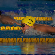 In the late evening light in Rome, Ariana Kukors, USA, powers past Stephanie Rice, Australia, to break Rices' World Record in the Women's 200m IM Semi Finals at the World Swimming Championships in Rome on Sunday, July 7, 2009. Photo Tim Clayton.