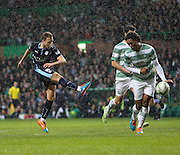 Dundee's Greg Stewart comes close as his shot is defected wide by Celtic's Virgil van Dijk - Celtic v Dundee, SPFL Premiership at Celtic Park<br /> <br />  - © David Young - www.davidyoungphoto.co.uk - email: davidyoungphoto@gmail.com
