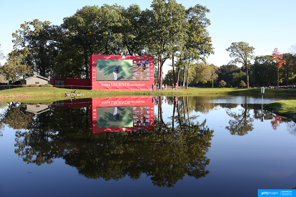 Ryder Cup 2016. Day Two. A scoreboard reflected in a small lake before the start on competition during the Ryder Cup at the Hazeltine National Golf Club on October 01, 2016 in Chaska, Minnesota.  (Photo by Tim Clayton/Corbis via Getty Images)
