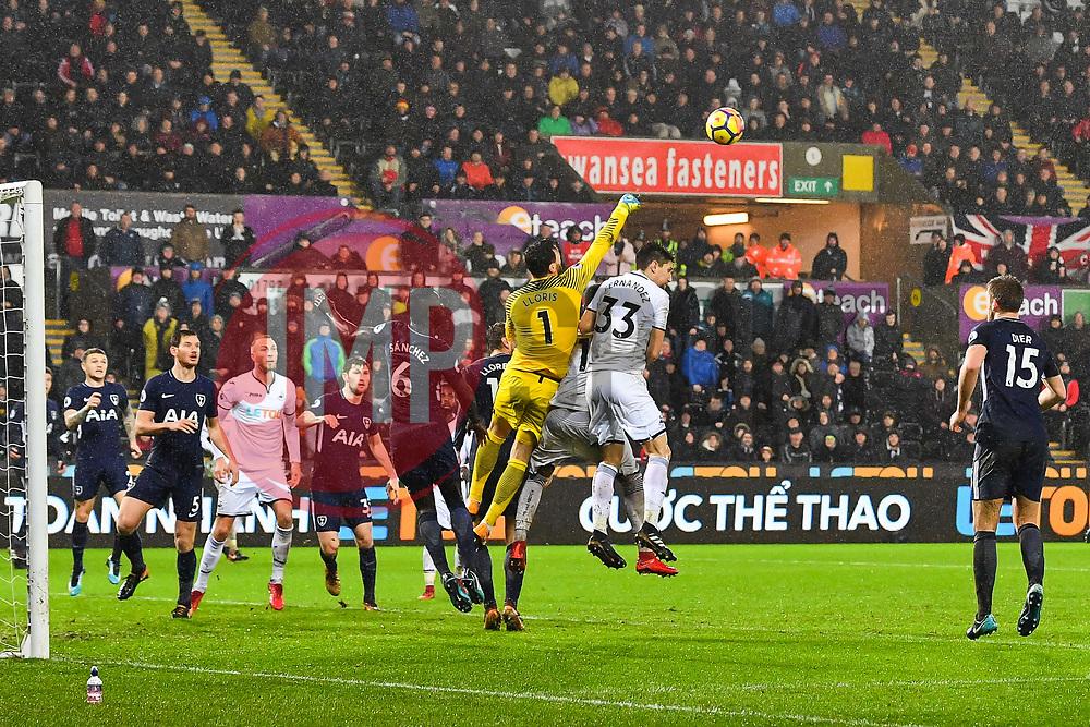 Hugo Lloris of Tottenham Hotspur punches the ball clear - Mandatory by-line: Craig Thomas/JMP - 02/01/2018 - FOOTBALL - Liberty Stadium - Swansea, England - Swansea City v Tottenham Hotspur - Premier League