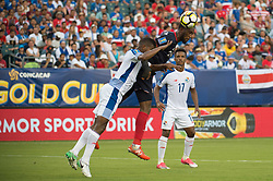 July 19, 2017 - Philadelphia, Pennsylvania, U.S - Costa Rica defender KENDALL WATSON (24) heads a ball on goal defended by Panama midfielder Æ'DGAR BçRCENAS (8) while Panama defender LUIS OVALLE (17) looks on during CONCACAF Gold Cup 2017 action at Lincoln Financial Field in Philadelphia, PA.  Costa Rica defeats Panama 1 to 0. (Credit Image: © Mark Smith via ZUMA Wire)