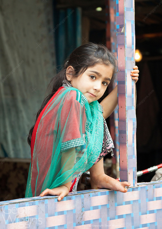 Indian girl from small fishing community on Dal Lake, Srinagar, Jammu and Kashmir State, India