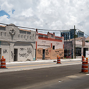 MIAMI, FLORIDA, JUNE 28, 2017<br /> Boarded up storefronts in the neighborhood near  the proposed new soccer stadium planned for the David Beckham group in a nearby parcel in Overtown. <br /> (Photo by Angel Valentin/Freelance)