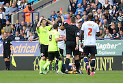 Brighton winger, Jamie Murphy shown a red card, sent off during the Sky Bet Championship match between Bolton Wanderers and Brighton and Hove Albion at the Macron Stadium, Bolton, England on 26 September 2015.