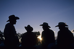 North America, United States, Montana, Big Timber, four cowboys at sunset in silhouette