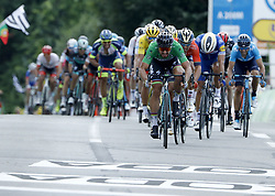 July 11, 2018 - Quimper, France - QUIMPER, FRANCE - JULY 11 : SAGAN Peter (SVK) of Bora - Hansgrohe, COLBRELLI Sonny (ITA) of Bahrain - Merida, & GILBERT Philippe (BEL) of Quick - Step Floors  during stage 5 of the 105th edition of the 2018 Tour de France cycling race, a stage of 204.5 kms between Lorient and Quimper on July 11, 2018 in Quimper, France, 11/07/2018 (Credit Image: © Panoramic via ZUMA Press)