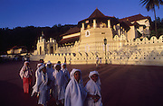 A group of Muslim school girls in front of the Temple of the Tooth in Kandy.