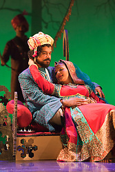 © Licensed to London News Pictures. 30/05/2012. London, England. Gurpreet Singh as Tariq and Sheena Patel as Young Soraya. Premiere of the Musical Wah! Wah! Girls at the Peacock Theatre in a Sadler?s Wells, Theatre Royal Stratford East and Kneehigh Production where East London meets Bollywood.  Written by Tanika Gupta, directed by Emma Rice with choreography by Javed Sanadi and leading Kathak choreographer Gauri Sharma Tripath. iWah! Wah! Girls is part of World Stages London, a two month celebration of London?s diversity through a series of exceptional shows created by leading UK and international artists.  Photo credit: Bettina Strenske/LNP