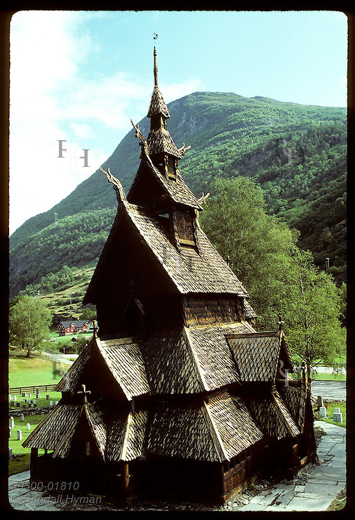 Borgund stave church (frnt view) is the best preserved in Norway, from mid 1100s; Sogn County. Norway