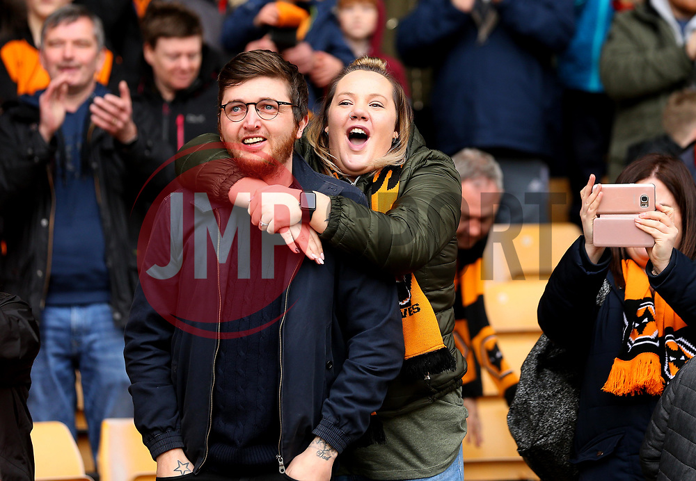 Wolverhampton Wanderers fans their side winning promotion to the Premier LeagueFree to use courtesy of Sky Bet - - Mandatory by-line: Robbie Stephenson/JMP - 15/04/2018 - FOOTBALL - Molineux - Wolverhampton, England - Wolverhampton Wanderers v Birmingham City - Sky Bet Championship