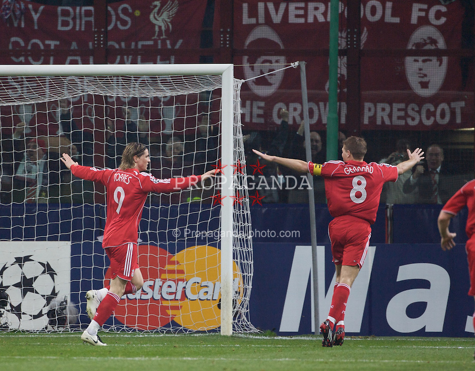 MILAN, ITALY - Tuesday, March 10, 2008: Liverpool's Fernando Torres  celebrates with his team mate captain Steven Gerrard MBE after scoring a goal during the UEFA Champions League First knockout Round 2nd Leg match at the San Siro. (Pic by Carlo Baroncini/Propaganda)