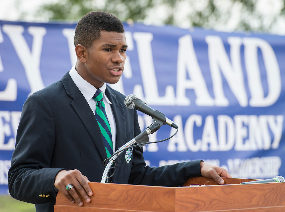 Senior class president Michael Suber comments during groundbreaking ceremonies for the Mickey Leland College Preparatory Academy, April 16, 2015.
