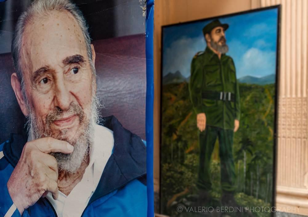 Posters and painting depicting Fidel Castro in Old Havana. Cuba, 2015.