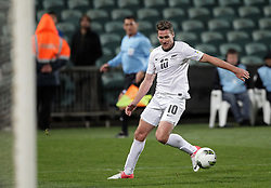 New Zealand's Chris Killen lines up a shot at goal against Solomon Islands in a FIFA World Cup Qualifier Match, North Harbour Stadium, Auckland, New Zealand, Tuesday, September 11, 2012.  Credit:SNPA / David Rowland