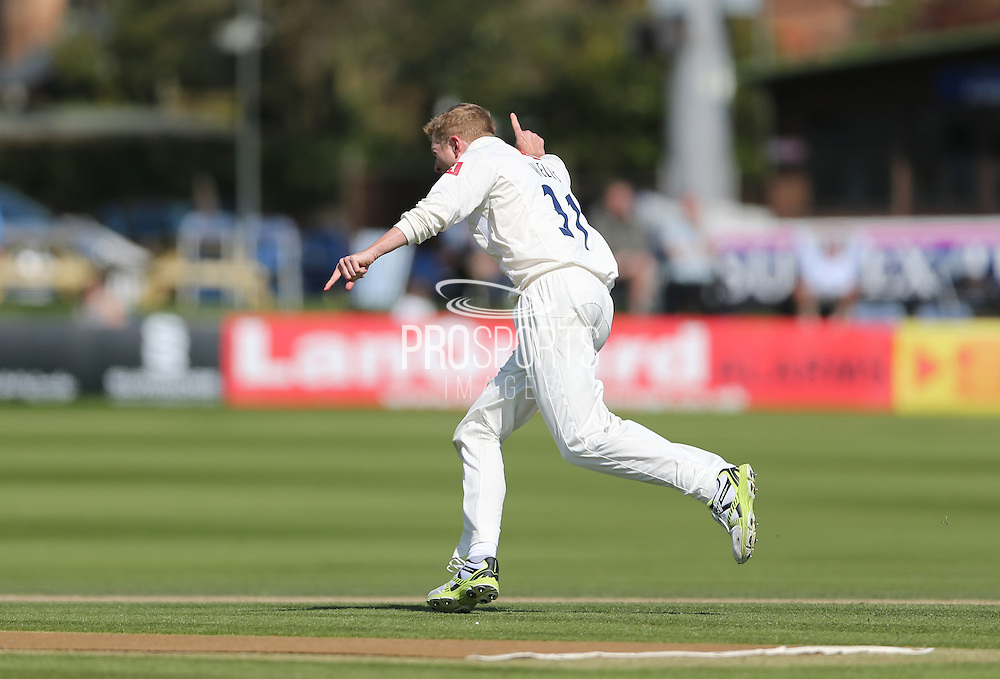 Luke Wells takes the wicket of Worcester bowler Charlie Morris during day 3 of the LV County Championship Div 1 match between Sussex County Cricket Club and Worcestershire County Cricket Club at the BrightonandHoveJobs.com County Ground, Hove, United Kingdom on 21 April 2015.