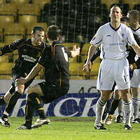 Livingston v St Johnstone...13.01.2007<br />A delighted Steven Craig celebrates making it 2-1 as Paul Sheerin shows his pain<br /><br />Picture by Graeme Hart.<br />Copyright Perthshire Picture Agency<br />Tel: 01738 623350  Mobile: 07990 594431