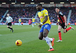 Huddersfield Town's Ishmael Miller closes in on the Bournemouth net - Photo mandatory by-line: Paul Knight/JMP - Mobile: 07966 386802 - 14/02/2015 - SPORT - Football - Bournemouth - Goldsands Stadium - AFC Bournemouth v Huddersfield Town - Sky Bet Championship