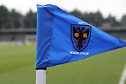 AFC Wimbledon's new corner flag during the The FA Cup match between AFC Wimbledon and Charlton Athletic at the Cherry Red Records Stadium, Kingston, England on 3 December 2017. Photo by Matthew Redman.