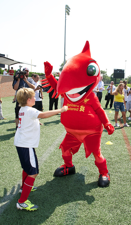 BOSTON, MA - Monday, July 23, 2012: LFC Foundation's mascot Might Red event at Harvard Stadium fields during the club's North American pre-season tour. (Pic by David Rawcliffe/Propaganda)