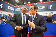 Former Chairman of the Republican Party, Michael Steele (left) and Darrel Issa (R-Ca) in the spin room after the CNN Republican Presidential Debate at the Venetian Hotel and Casino in Las Vegas.