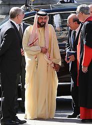 The President of the United Arab Emirates, Sheikh Khalifa bin Zayed Al Nahyan is welcomed by The Duke of York as he arrives at Westminster Abbey in London,  on the second day of his state visit to the UK Wednesday 1st May 2013.  Photo by: Stephen Lock / i-Images