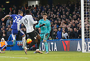 Chelsea defender John Terry puts the ball in to his own net shortly after half time during the Barclays Premier League match between Chelsea and Everton at Stamford Bridge, London, England on 16 January 2016. Photo by Andy Walter.