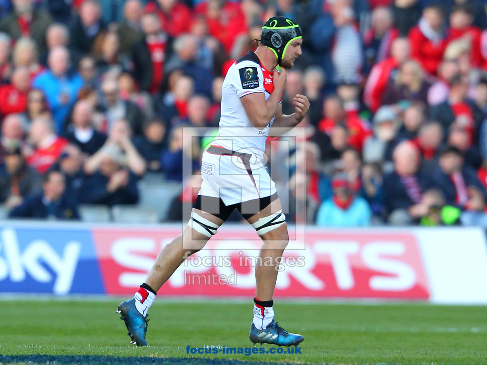 Francois Cros of Stade Toulousain leaves the field after receiving a yellow card during the European Rugby Champions Cup match at Thomond Park, Limerick<br /> Picture by Yannis Halas/Focus Images Ltd +353 8725 82019<br /> 01/04/2017