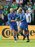 Photo: Andrew Unwin.<br /> Northern Ireland v Iceland. European Championships 2008 Qualifying. 02/09/2006.<br /> Iceland's Eidur Gudjohnsen (R) celebrates his goal.