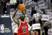 Apr 27, 2010; Cleveland, OH, USA; Chicago Bulls forward Luol Deng (9) shoots a free throw during the first period in game five against the Cleveland Cavaliers in the first round of the 2010 NBA playoffs at Quicken Loans Arena.  Mandatory Credit: Jason Miller-US PRESSWIRE