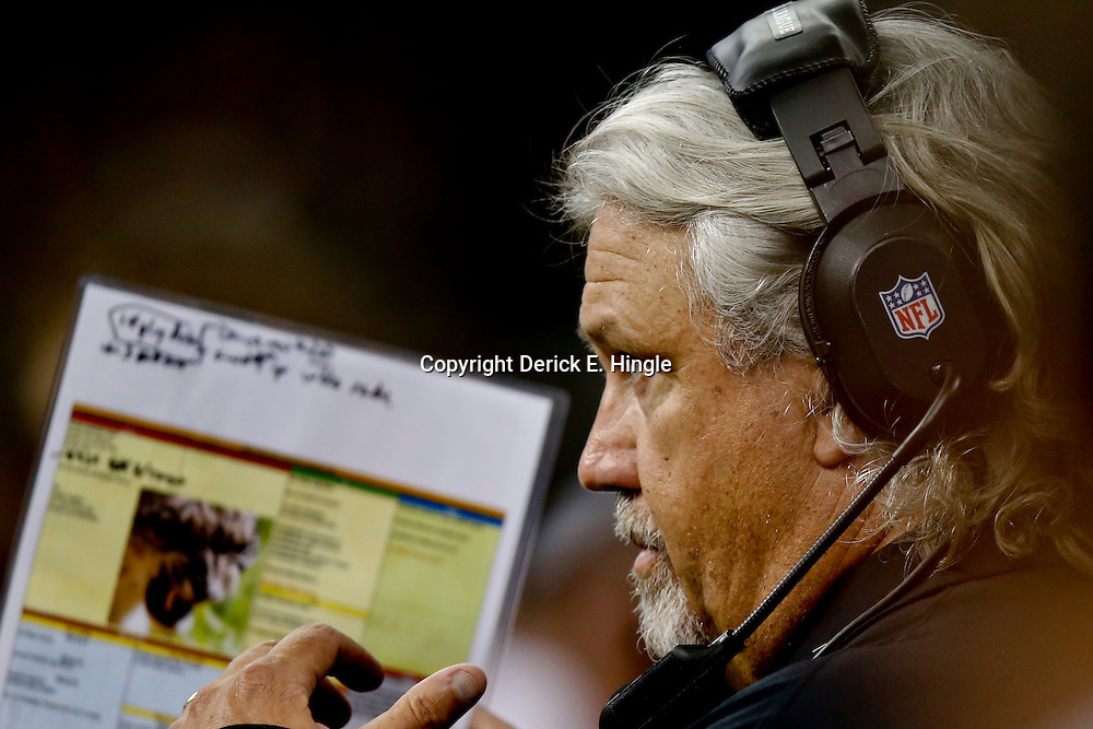 Aug 9, 2013; New Orleans, LA, USA; New Orleans Saints defensive coordinator Rob Ryan against the Kansas City Chiefs during a preseason game at the Mercedes-Benz Superdome. The Saints defeated the Chiefs 17-13. Mandatory Credit: Derick E. Hingle-USA TODAY Sports