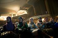 Young muslim women attend the debate at the 'Feest van de sociale politiek' in Antwerp, a week before the local elections in Antwerp. Mayor Patrick Janssens and Bart de Wever cancelled last minute and didn't attend the event. Antwerpen, Belgium, 2012