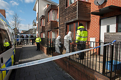 © Licensed to London News Pictures.  02/03/2015, Bristol, UK.  Police forensics officers search a house in Cotton Mill Lane in the Barton Hill area as part of the search for missing teenager Rebecca Watts aged 16 who left home a mile away in Crown Hill in the St George area of Bristol last Thursday and has not been seen since. Police have carried out extensive searches in the St George area and at a house in Southmead since. Rebecca did not take any spare clothes with her and both her family and the police are very worried for her welfare. Photo credit : Simon Chapman/LNP