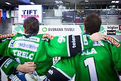 Players of Olimpija at medal ceremony during ice hockey game between HDD Telemach Olimpija and Team Jesenice in 2nd leg of Finals of Slovenian National Championship 2014, on April 3, 2014 in Hala Tivoli, Ljubljana, Slovenia. Photo by Matic Klansek Velej / Sportida